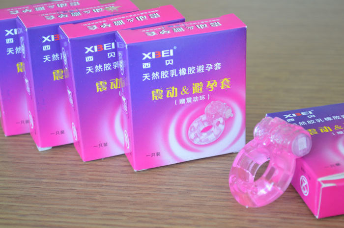 Stretch Strong Dick Ring Vibrater Condom / Penis Bullet Cock Ring Sex Toy For Man